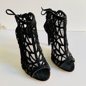 Zara Basic Suede Open Macrame Sandal